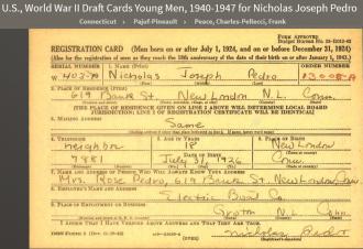 Nicholas Joseph Pedro--U.S., World War II Draft Cards Young Men, 1940-1947 front