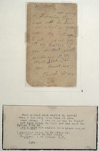 Postcard from Houdini to his mother