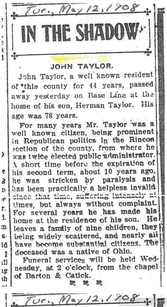 John Taylor Obiturary
