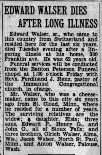 Edward Walser Obituary