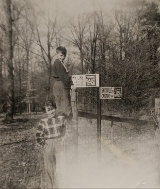 Pearl Stawnychka and Bryan. Photo taken on the mountain brow in Hamilton ON in the 1950s.