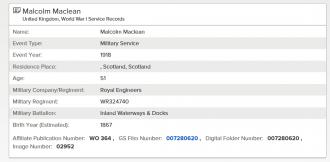 Malcolm McLean Service Record