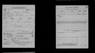 Walter Henry Rickard's military registration card's