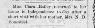 Proof Clara Bailey lived in Independence Ks