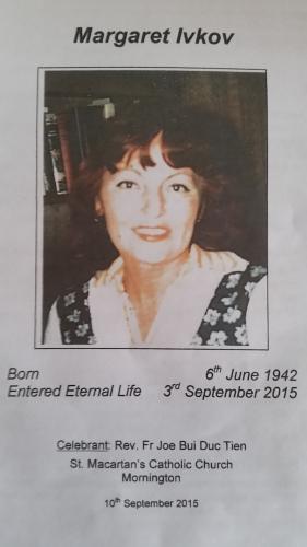 Margaret Kovach Ivkov Funeral