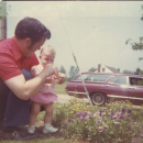 I was 2 or 3 at Easter with my dad at Granny's house.