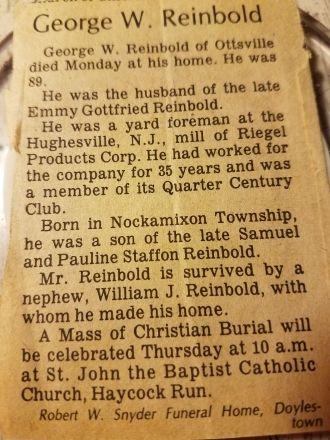 George Reinbold Obituary