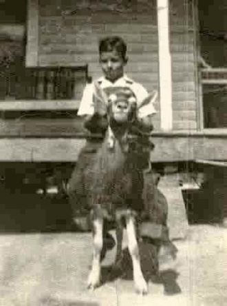 Uncle Kay on his pet goat