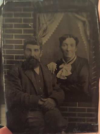 Unknown couple, tintype
