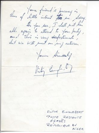 Victor Englebert letter to me page 2
