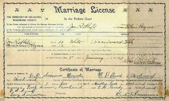 Marriage certificate for Joe RATLIFF & Elsie ROGER