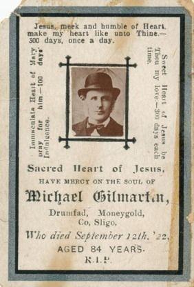Michael Gilmartin Memorial Card, Ireland D:Sept.12,1922