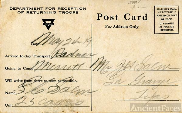Back of Louis Salm's YMCA postcard