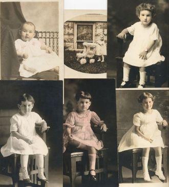 """""""Grandma Horner"""" at ages 6m,15m,~3y,5y,6y,7y"""
