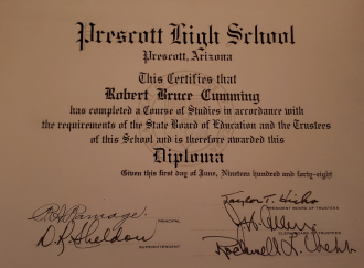Robert B Cumming 1948 Graduation  diploma