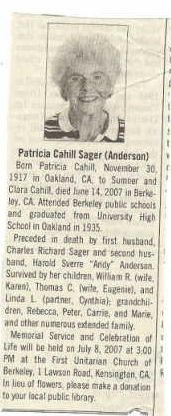 Patricia Cahill Sager Anderson obituary