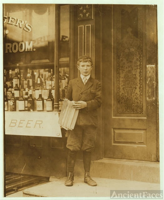 John Gibson, Newsboy, 13 years of age. Selling newspapers...