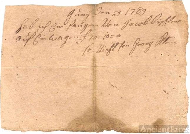 Handwritten Receipt - Jacob Bixler