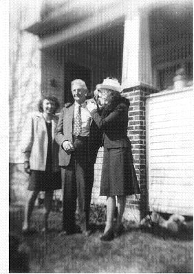 Wanda Kroetsch, with parents John + Bernice, after church