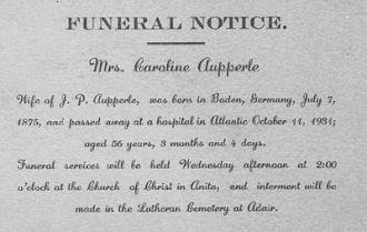 Caroline Aupperle, Funeral Notice