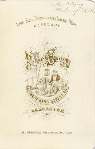 Back of Ella King cabinet card