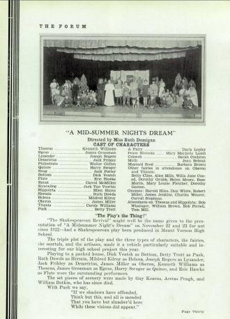 A Mid-Summer Nights Dream - 1934 Mount Vernon High School