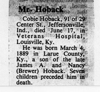 Cobie Charles Hoback obituary
