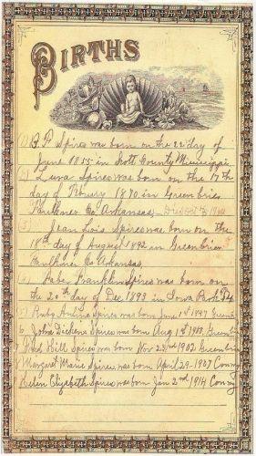Benjamin Franklin Spires Family Bible Births