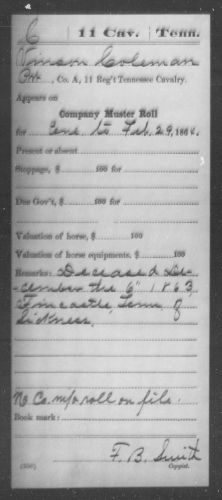 Vincent Coleman Muster Roll