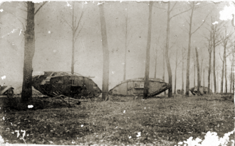 Allied tanks in a forest