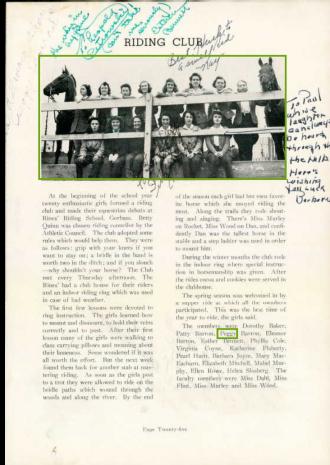 Margaret Theresa Barron--U.S., School Yearbooks, 1900-1999(1942)riding club