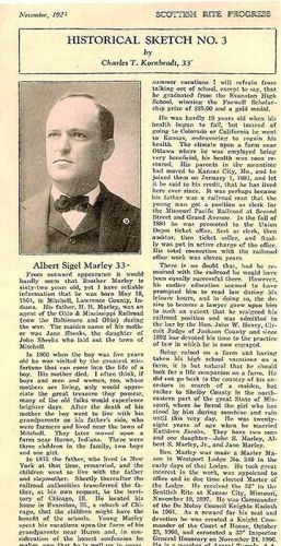 "A.S.Marley's Bio In ""The Scottish Rite Progress"""