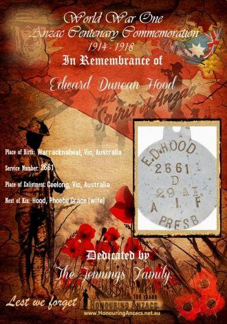Edward Duncan Hood memorial