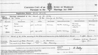 Peter Fenwick & Jane Craigs Marriage Certificate