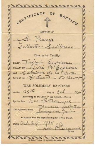 Virginia Espinoza baptism certificate