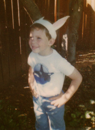 Daniel dressed up with Easter Bunny Ears