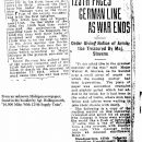 End of WWI - newsclipping