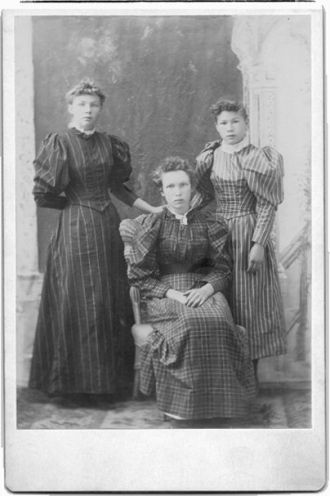 Katie E. and Annie L. Todd with unknown friend