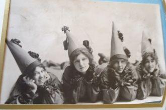 Postcard of clown ladies