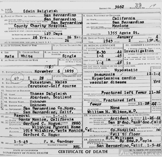 Death Certificate for Edwin Dalgleish