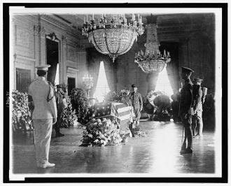 [President Warren G. Harding's body lying in state in the...