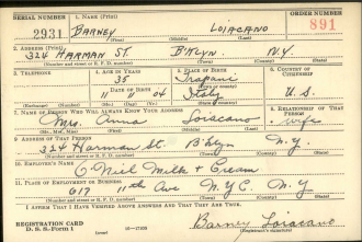 Barney Loiacano - World War 2 Draft Registration Card