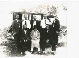 A photo of Back Row: L-R Will, George, Zeb, Luther, Jim Inman