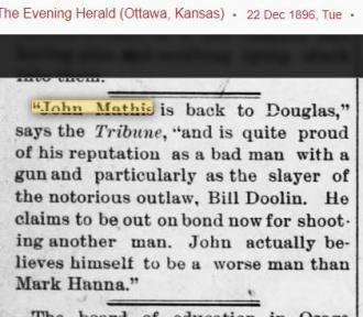John Abner Mathis~ He grew up in Douglas Kansas