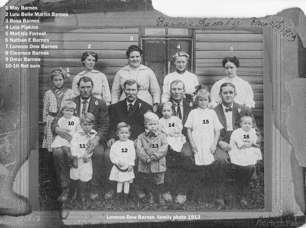 Lorenzo Dow Barnes Family abt 1915