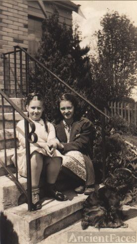 Joyce Benning, friend, and Sandy the dog