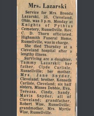 Brenda Gayle  (Carlisle ) Lazarski Obituary