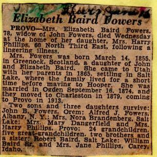 Elizabeth Baird Fowers Obituary