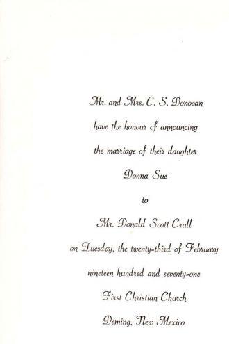 Donna Sue Crull, 1971 wedding announcement