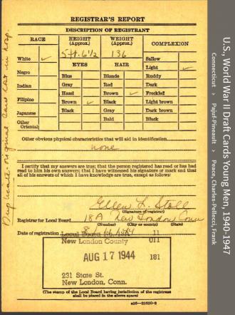 Nicholas Joseph Pedro--U.S., World War II Draft Cards Young Men, 1940-1947 back